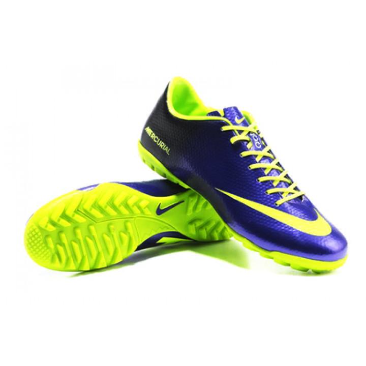 Кроссовки Nike mercurial victory, синий с салатовым